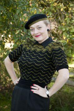 Fiona Harrison wearing a 1940s jumper
