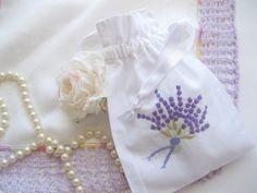 Embroidered Little Bag Craft Bag Potpourri Bag by mailordervintage