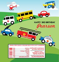 Retro Transportation Birthday Invitation