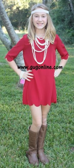 Sweet and Scalloped Children's Dress in Burgundy