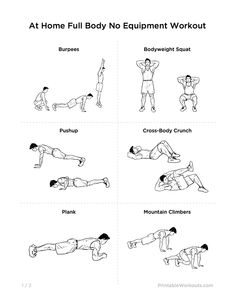 Ultimate At-Home No Equipment Workout Routine for Men  Women | Printable Workouts