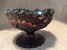 Fenton Carnival Glass Pedestal Bowl  GL0002 by TahoeTonyas on Etsy