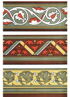 Victorian Decorative Borders and Designs by: Christopher Dresser - Dover Publications FULL PAGE 2 Greek Pattern, Pattern Art, Pattern Design, Victorian Interiors, Victorian Decor, Art Nouveau, Decorative Borders, Borders And Frames, Border Design