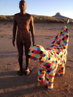 what the heck!??! banana + lamb + #yarnbomb = #Liverpool's first crocheted Lambanana - it's a doublehack! #knithacker