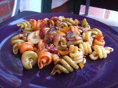 veganer mediterraner Nudelsalat mit Zucchini, Pilzen und Paprika - vegane Rezepte auf Laubfresser