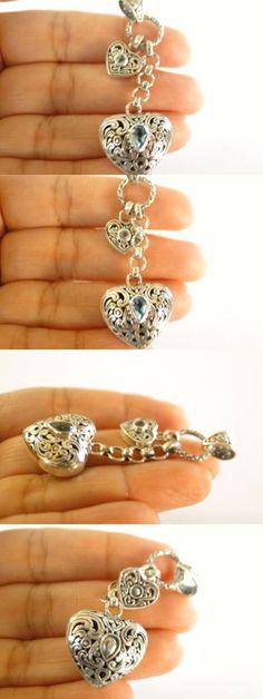 Women Jewelry: Two Hearts Blue Topaz Balinese Dangle Drop 925 Sterling Silver Pendant -> BUY IT NOW ONLY: $69 on eBay!