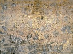 Anselm Kiefer, Les Reines de France, 1995. Emulsion, acrylic, sunflower seeds, photographs, woodcut, goldleaf, and cardboard on canvas, three panels, 18 feet 4 1/2 inches x 24 feet 2 1/2 inches (560.1 x 737.9 cm) overall