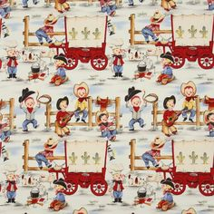 funny Michael Miller vintage fabric cowboy boys 3