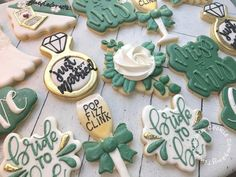 "Tiny Kitchen Cookie Company on Instagram: ""A beautiful green hued virtual bachelorette party set! Love that people are finding ways to continue to celebrate milestones/important…"" Cookie Company, Cookies, Celebrities, Green, Party, Kitchen, Desserts, People, Beautiful"