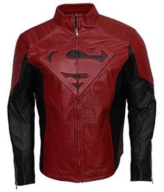 Super the Man Red and Black Cosplay Celebrity leather jacket costume: Amazon.co.uk: Clothing