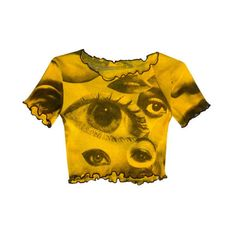 Eyes Mesh Crop Top Yellow (€31) ❤ liked on Polyvore featuring tops, t-shirts, shirts, crop tops, yellow shirt, short sleeve t shirt, screen print t shirts, t shirt and brown shirts