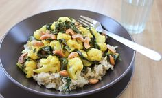 Meatless Monday: Cauliflower with curry butter and toasted cashews over basmati rice Meatless Monday, Cilantro, Potato Salad, Cauliflower, Main Dishes, Curry, Rice, Butter