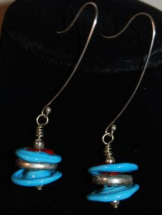 Turquoise disc earrings in handmade glass by BrownDogGlassBeads, $38.00