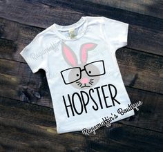 Boys Easter Shirt, Boys Easter Bunny shirt, Hopster, hipster shirt, toddler boys Easter shirt, trendy boys Easter shirt, Trendy Easter shirt by RagamuffinsPretties on Etsy https://www.etsy.com/listing/502432954/boys-easter-shirt-boys-easter-bunny