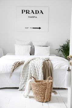 Gorgeous white bedroom. For luxurious white cotton and linen bedding try: http://www.naturalbedcompany.co.uk/product-category/bedding/natural-cotton-bedding/