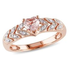 Amour 0.06 CT Diamond TW And 1/2 CT TGW Morganite Fashion Rings 10k... ($255) ❤ liked on Polyvore featuring jewelry, rings, no color, rose gold ring, heart shaped rings, diamond jewellery, heart diamond ring and heart shaped diamond ring