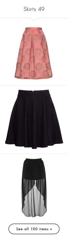 """""""Skirts 49"""" by singlemom ❤ liked on Polyvore featuring skirts, bottoms, pleated midi skirt, midi skirt, lace midi skirt, calf length skirts, topshop skirts, h&m, black and short flared skirt"""