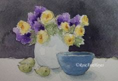 Watercolor painting of yellow roses and lilacs by RoseAnn Hayes, available in Etsy shop.