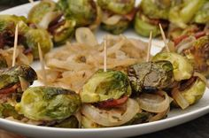 Brussel Sprouts Sliders - Brussels Sprouts, Dijon, Bacon, Caramelized Onion  & Bleu Cheese