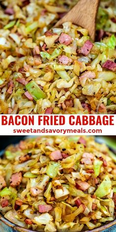 Easy Bacon Fried Cabbage [Video] - Sweet and Savory Meals This is a delicious and super easy dish to make with only a few ingredients. It is flavorful and ready in less than 30 minutes! Bacon Fried Cabbage, Fried Cabbage Recipes, Potato Salad Recipes, Diced Ham Recipes, Low Cal Chicken Recipes, Kilbasa Sausage Recipes, Turkey Bacon Recipes, Bacon Meals, Recipes Using Bacon