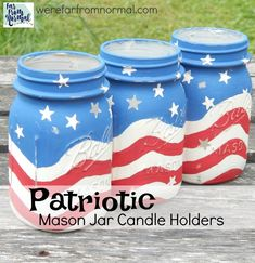 Red White Blue Mason Jar Candle Holders – Patriotic Mason Jar Craft Ideas. Nothing says the Fourth of July like red, white and blue patriotic mason jar candle holders!   But seriously … aren't these the cutest?   I love how the red and white stripes are painted to look like they are moving … …