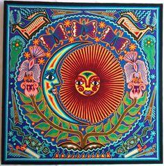 Mexican Huichol Sun and Moon eclipse yarn painting by Aramara Deer Calls, Yarn Painting, Spirit World, Light Of Life, Mexican Art, Bead Art, Deities, Mosaic, Sun