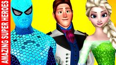Blue Colour Spiderman & Green Colour Elsa Hans Finger Family Songs | Sup...