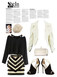 """Untitled #955"" by rhaxkido on Polyvore featuring Balmain, Judith Leiber, Jimmy Choo and Sheinside"