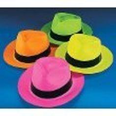 Neon Color Plastic Gangster Hats (12…