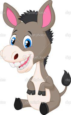 Caricatura lindo bebé burro — Vector de stock © tigatelu #37158741