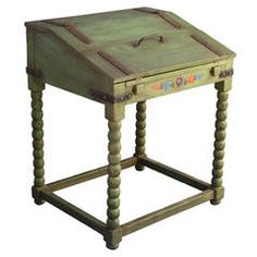Rare Monterey Fold-Down Writing Desk in Spanish Green