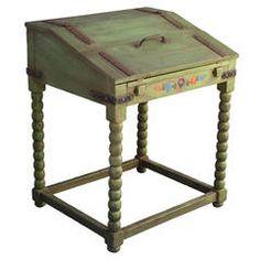 Rare Monterey Fold Down Writing Desk In Spanish Green