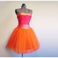 pink & orange vintage tulle dress