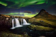 Northern Lights - Kirkjufellsfoss at Night, Iceland