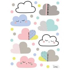 Little cloud wall decals by Aless Bayliss, for Lilipinso Kids Patterns, Textures Patterns, Print Patterns, Pattern Ideas, Wall Stickers, Wall Decals, Vinyl Decals, Wall Art, Decoration Creche