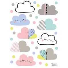 Stickers nuages et pois multicolore Lilipinso