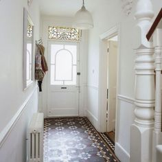 Small hallway lighting ideas narrow hallway ideas tiled hallway small hallway ideas photo gallery beautiful homes . Hall Tiles, Tiled Hallway, Hallway Flooring, Hallway Paint, White Hallway, White Walls, Staircase Walls, Bright Hallway, Stairs Canopy