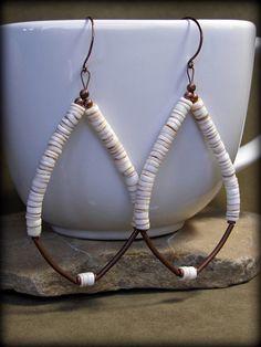 Hoop Earrings  Dangle Earrings  Shell Earrings by StoneWearDesigns, $28.00
