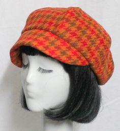 Newsboy Cap  Vintage Wool Orange Houndstooth by Bellastarrhats, $65.00