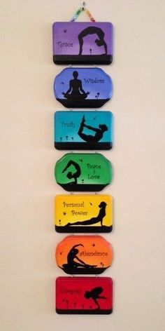 Seven beautiful interconnected hand-painted plaques is perfect for the home or yoga studio. Each individual plaque features a particular chakra along with its associated color and yoga posture. The wall hanging is wide and 3 long. Chakra Art, Chakra Healing, Chakra Painting, Yoga Painting, Healing Prayer, Chakra Symbols, Healing Heart, Healing Quotes, Yoga Inspiration