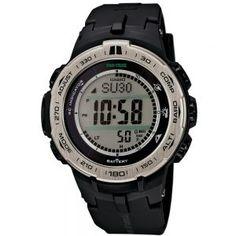 Casio PRO TREK Triple Sensor Version 3 TOUGH SOLAR Watch PRW-3100-1 - Black