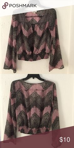 Sheer pink and black blouse. I love this blouse because it's lightweight and sheer can go with anything. Please feel free to make me an offer! Love Fire Tops Blouses