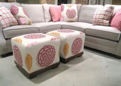 Note the perfect pattern matching on these light and sweet ottomans.