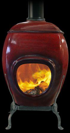 Earthfire Deep Red Ceramic Fireplace