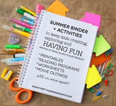 Summer Activities Binder Printable Summer Binder- create a binder full of fun for your kids this summer! Beat the boredom blues. Includes ideas for activities.Inclusion Inclusion or Include may refer to: Summer Activities For Kids, Fun Activities, Crafts For Kids, Holiday Activities, Kids Fun, Summer School, Summer Kids, Summer 2016, Kids Summer Schedule