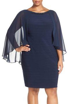 Adrianna Papell Embellished Chiffon Overlay Shutter Pleat Sheath Dress (Plus Size)