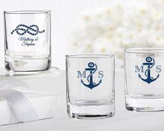 Personalized Nautical Themed Shot Glass/Votive Holder (Wedding) #wedding #nauticalwedding