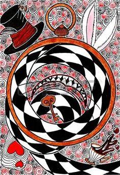 56986511-Рука-рисунок---концепция-Алиса-в-стране-чудес.-Часы---чай---кролик---улыбка---Чеширский-кот---карт.jpg (308×450)