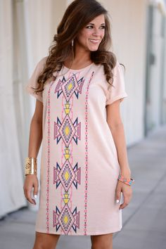 This charming dress is so pretty and unique! The fun aztec print with the loose fit is amazing!