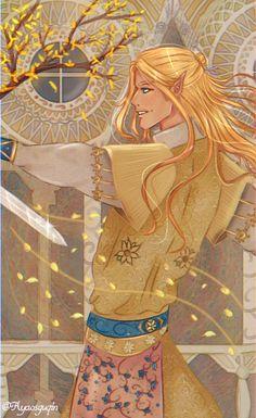 Art Dump :) — Glorfindel Lord of the House of the Golden Flower Thranduil, Tolkien, O Silmarillion, Glorfindel, Elf Art, Fanart, Golden Flower, Elvish, Dnd Characters